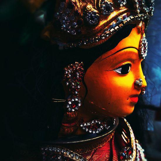 Praise the Devi Devi Maa Festival Headshot Beauty Close-up Female Likeness Eyelash Vision Eyesight Flaming Torch Human Representation Ceremonial Make-up Eyebrow Iris Human Eye Human Lips Eyelid Eyeball Iris - Eye