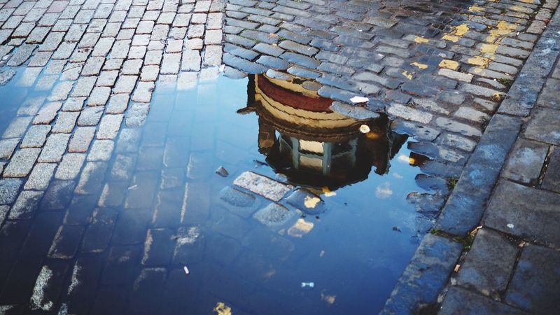 Cobblestone Cobblestone Streets Cobblestones Puddle Puddleography Puddle Reflections Puddles High Angle View Water Outdoors No People Day Architecture Edinburgh