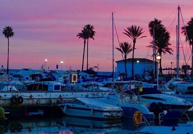 SPAIN Duquesa Sunset Nautical Vessel Moored Transportation Harbor Sea Sky Boat