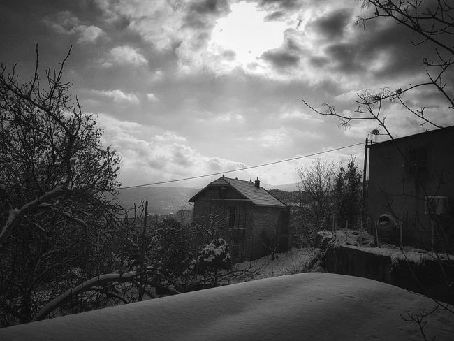 Snow Corsica House Bnw Bnw_collection Love Cloud - Sky Sky Architecture House Built Structure Building Exterior No People Tree Day Outdoors Nature