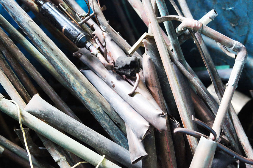 Close-up Day Large Group Of Objects Low Angle View Metal No People Outdoors Pipes Scrap Scrapyard