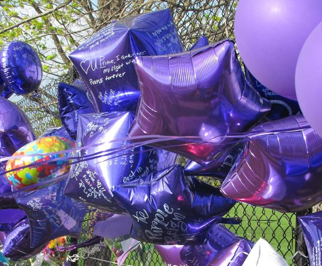 Goodnight sweet Prince Paisley Park Studios Prince Memorials Purple Balloons Purple Reign