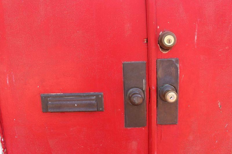 Full frame of red door