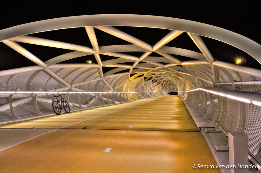 Fietsbrug over de A15 Architecture Bicycle Road Bridge Illuminated Outdoors The Way Forward Transportation Tunnel