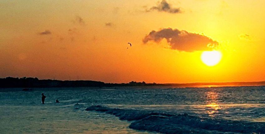 City of Salinópolis, Atalaia Beach, State of Pará, Amazon, Brazil. Sunset Sea Silhouette Beach Orange Color Water Nature