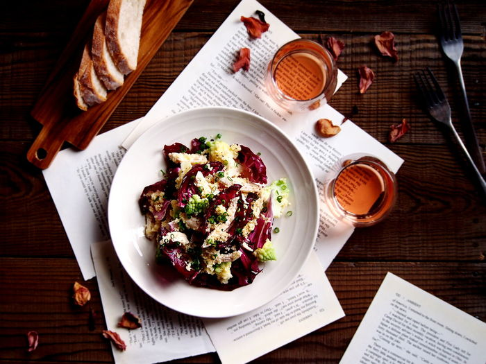 Radicchio & Chicken Couscous Salad Food And Drink Table Food Freshness Eating Utensil High Angle View Healthy Eating Directly Above Still Life Wellbeing Salad On The Table Food And Drink Wine Brunette