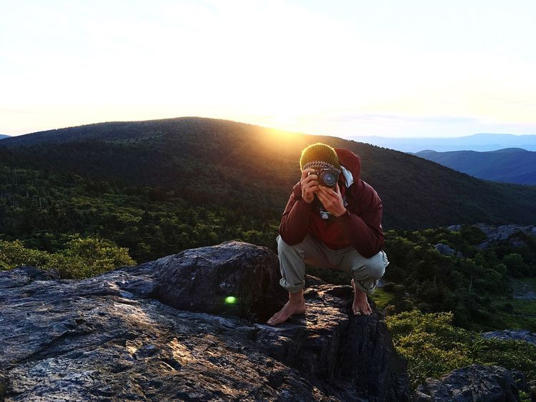 Mountain Rock - Object Hiking Outdoors Camera - Photographic Equipment Nature Two People Sunset Beauty In Nature Adventure Togetherness Sun Landscape Scenics Real People Forest Mountain Range Clear Sky Men Photographing Virginia Grayson Highlands National Park Nikonphotography Nikon