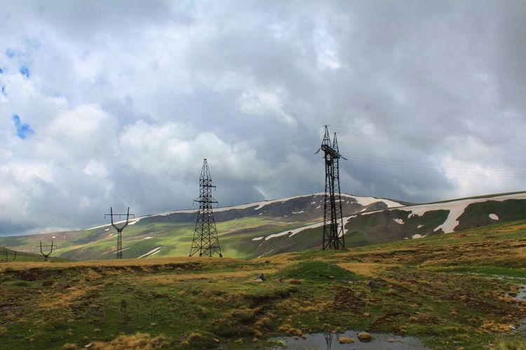 Mount Aragats, Armenia Aragat Armenia Reflection Aragats_mountain Awsome Beauty In Nature Cable Cloud - Sky Day Electricity  Electricity Pylon Field Grass Landscape Nature No People Outdoors Sky Tranquil Scene Tranquility