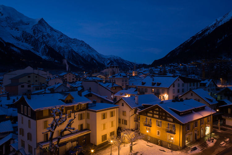 Chamonix at dusk Alpes Alps Architecture Chamonix Chamonix-Mont-Blanc Dusk Housing Settlement Mont Blanc Mont Blanc Massif Mountain Range Mountains Residential Building Residential District Resort Snow Town Winter Winter Sport