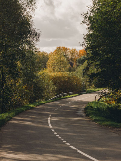 autumn in the country Autumn Autumn Colors Cloudy Light Autumn Beauty In Nature Cloud - Sky Curve Day Landscape Nature No People Outdoors Road Scenics Sky The Way Forward Tranquil Scene Tranquility Transportation Tree