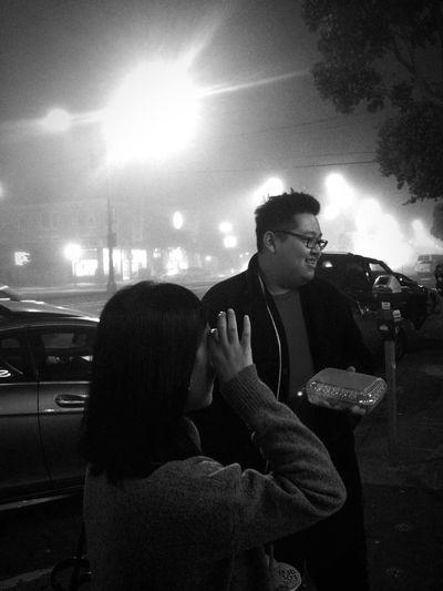 Foggy night at San Francisco, United States Monochrome Streetphoto_bw Blackandwhite