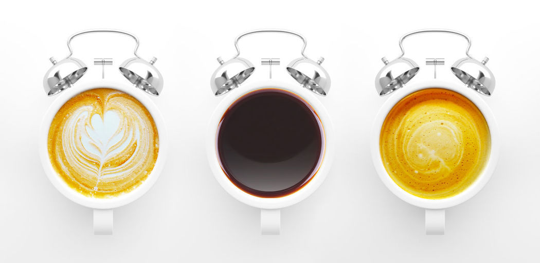 Directly above shot of coffee served on white background
