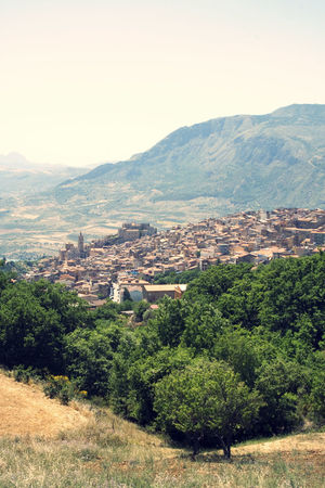 Panorama of Caccamo in Sicily, Italy Sicily Architecture Beauty In Nature Building Building Exterior Built Structure Caccamo Day Environment Green Color High Angle View Italy Land Landscape Mountain Mountain Range Nature No People Outdoors Plant Residential District Scenics - Nature Sky Tree