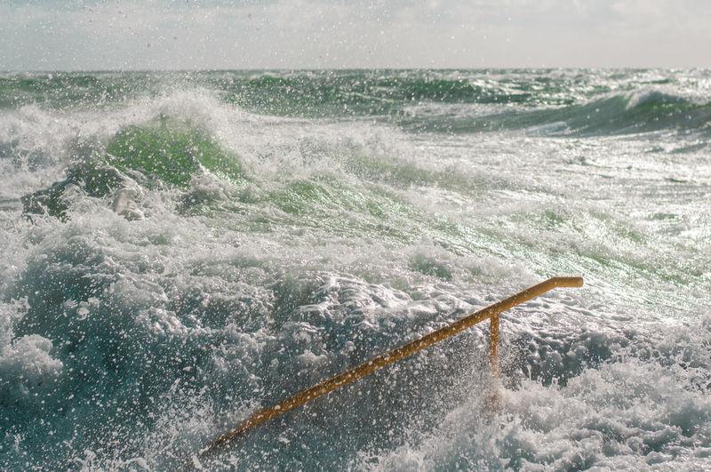 Waves splashing on shore