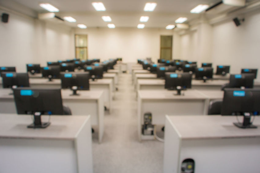 image blur computer lab Blur Chair Computer Lab Empty In A Row Lab Room Seat Technology University