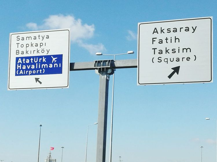 Turkey💕 Turkey♥ Türkiye 💙💛 Turkeyphotooftheday ✪ Istanbulstreetphotography Blue Road Sign Communication Cloud - Sky Text No People Sky Low Angle View Outdoors Day ATATÜRK ❤ Atatürk Airport (IST) Turkey, Istanbul, Europe, European, Asia, Asian, Bosphorous, Water, Black Sea, Sea, Atatürk Airport (ıst) Place Of Worship Airport Runway Traffic Travel Destinations Cityscape Road