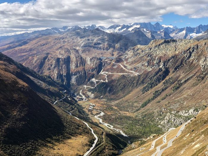 High angle view of road passing through valley