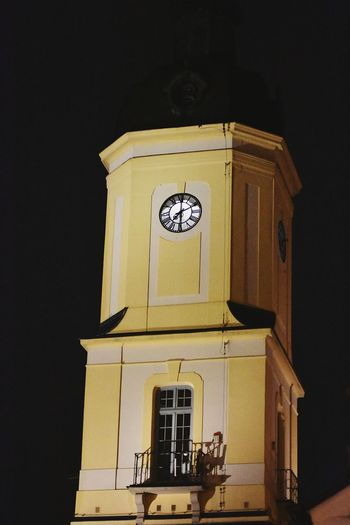 happy Tower #happytower Tower Happy Tower Happy Poland 💗 Poland Bialystok BIAŁYSTOK CITY Clock Face Clock Tower Architecture Building Exterior Bell Outdoors Built Structure Night Yellow Low Angle View Roman Numeral Minute Hand
