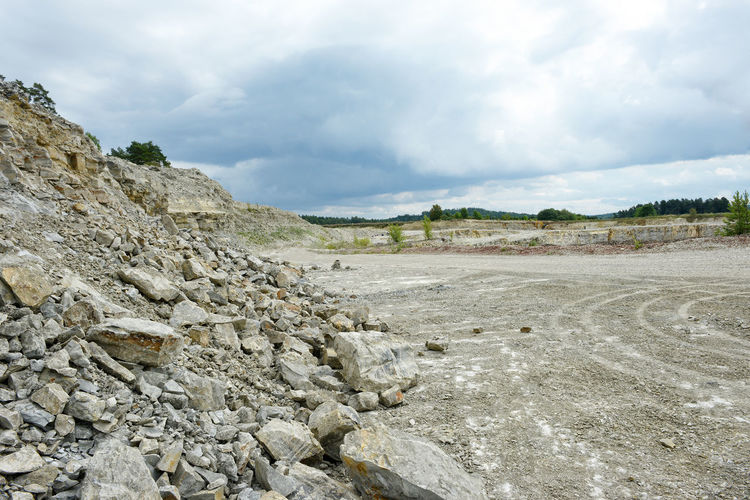 Open-pit mine against cloudy sky