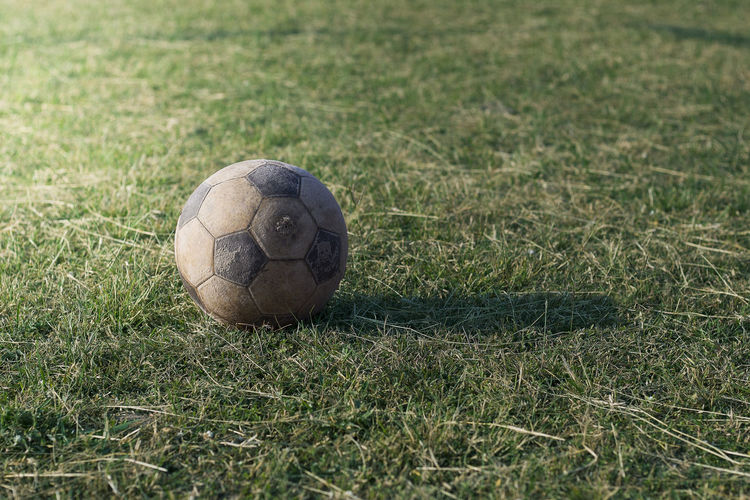 Close-up of ball on field