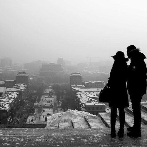 City Winter Lifestyles Real People Fog Copy Space Weather Silhouette One Person Outdoors Sky Built Structure Cold Temperature Warm Clothing People Adult Water Day Adults Only One Man Only First Eyeem Photo