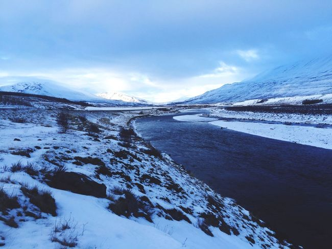 Snow Cold Temperature Winter Weather Nature Beauty In Nature Scenics Tranquil Scene Tranquility Sky Frozen Non-urban Scene Mountain Cloud - Sky Mountain Range Landscape Outdoors Day No People Water Horizon Over Water Iceland Full Length
