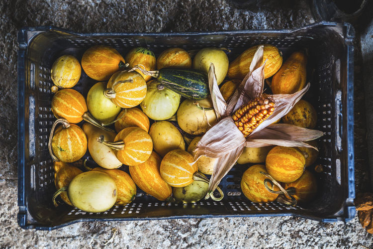 High angle view of squash and corn in crate
