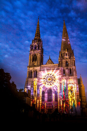 Architecture Built Structure Chartres City France Illuminated Night Outdoors Religion Sky Spirituality