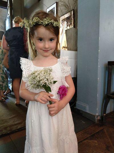 #wedding #girl #flowers #wedding Childhood Girls Standing Child Home Interior Close-up Posing Preschooler