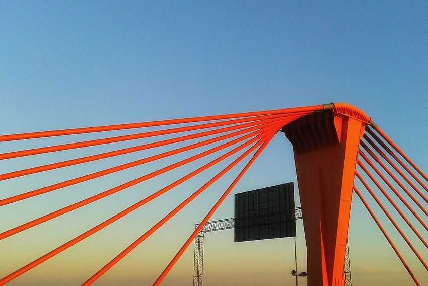 The Southern Bridge Red No People Built Structure Day Sky No Motion Urban City Blue Cables Bridge - Man Made Structure Bridge Southern Riga Latvia Industrial Construction Engineering EyeEmNewHere