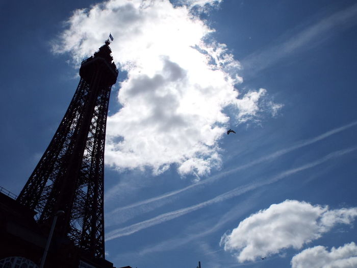 Historical Sights Tourism Looking Up Tourist Attraction  Summer 2016 Summertime The Essence Of Summer Blue Sky Metal Structure Blackpool Tower Clouds And Sky Clouds Silhouette Silouette & Sky Silhouette Of Blackpool Tower Minimalist Architecture