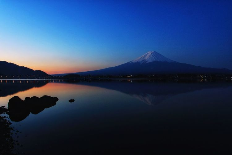 Reflection Lake Lake View Mt.Fuji Japan Sunrise Sunrise_Collection Water Mountain Clear Sky Lake Power In Nature Blue Reflection Copy Space Sky Landscape Snowcapped Mountain Tranquil Scene Natural Landmark Tranquility Calm