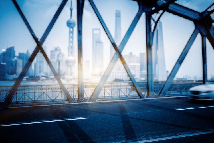 View of bridge through city