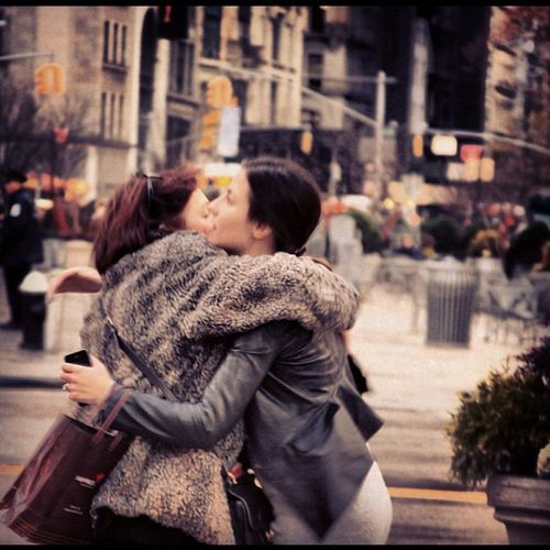 Timesqaure Two People Street City Street Love Happiness Outdoors Smiles Hugs