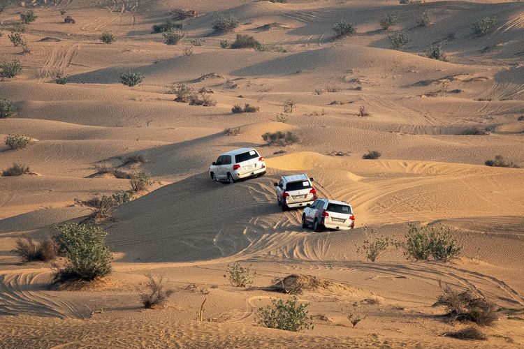High angle view of cars on desert