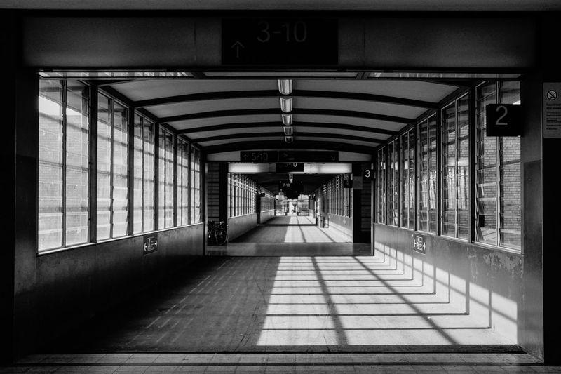 Empty footbridge at railroad station