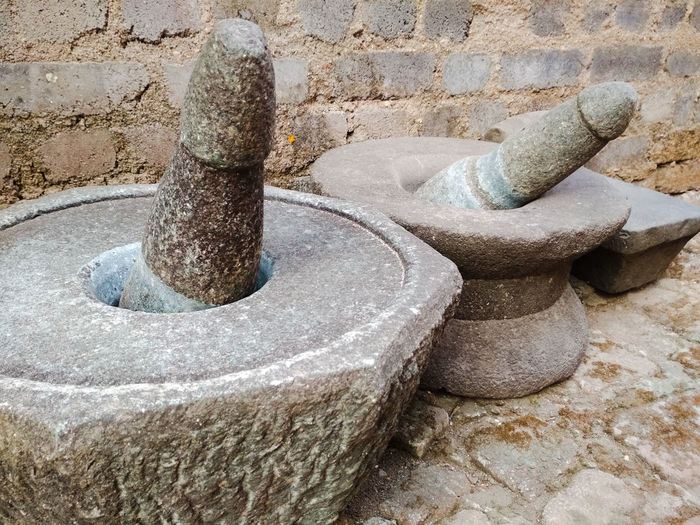 Traditional Rural Scene Village Grinding Stone Day High Angle View No People Outdoors Textured  Close-up Architecture