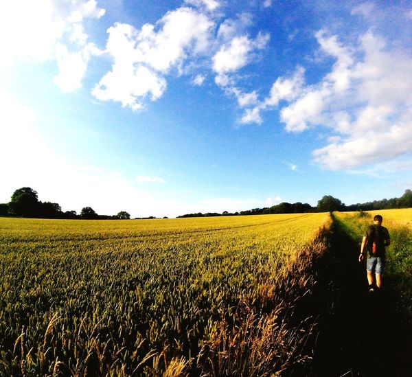 🌾 Field Agriculture Landscape Sky Nature Real People Growth Day Standing Rural Scene Outdoors People Nature Exploring Tranquility Adventure Dorset Scenics Outdoor Photography Tranquil Scene Summer 2017 Wimborne Beauty In Nature Idyllic