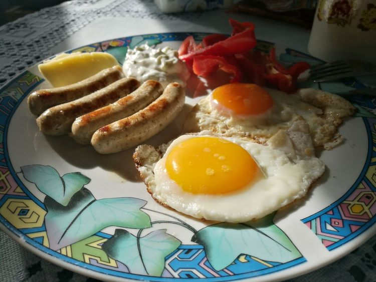 Fried No People Indoors  Close-up Sunny Side Up Breakfast Healthy Eating Ready-to-eat Food And Drink Love Yourself