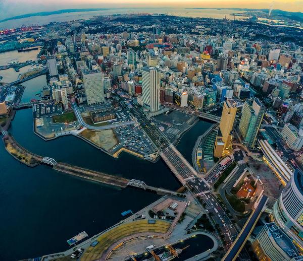 Yokohama Minatomirai Water Front  Yokohama Aerial View Architecture Building Building Exterior Built Structure City Cityscape High Angle View Minatomirai Office Building Exterior Skyscraper