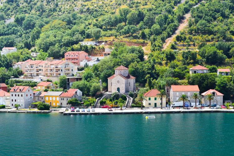 Kotor Cattaro Montenegro Fjord Church Sea Water Architecture Built Structure Building Exterior Tree Day Outdoors Mountain Nature Beauty In Nature