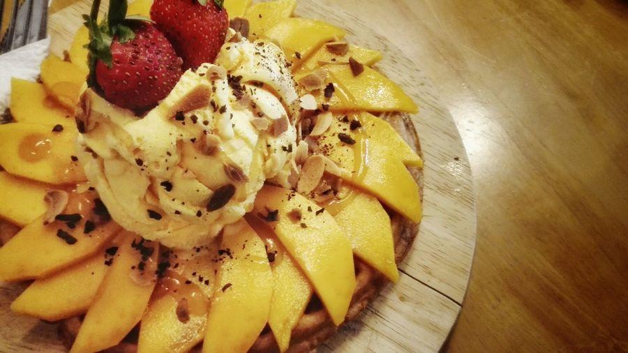 Mango Waffle Ice Cream Delicious Yellow Penang