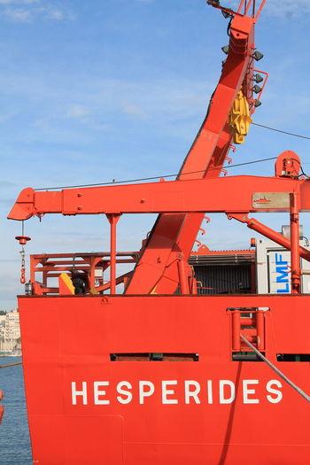 Hesperides IV Spanish Navy Armada Española BIO Hesperides Hesperiden Gardens Biology Antartic Expeditio Boat Boats Boat Deck Sea Sea Life Spaın Red Sky Day Machinery No Filter, No Edit, Just Photography