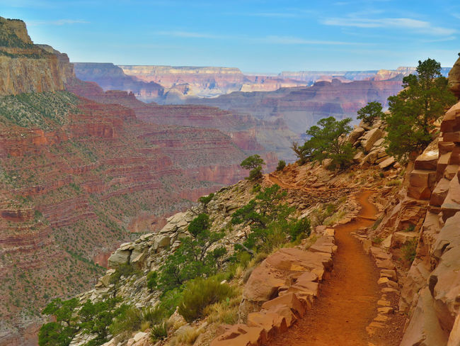 Arizona Grand Canyon Hiking Beauty In Nature Day Geology Grandcanyonsouthrim Hikingarizona Idyllic Landscape Mountain Nature No People Outdoors Physical Geography Rimtoriver Rock - Object Rock Formation Scenics Sky Southkaibabtrail Tranquil Scene Tranquility Travel Destinations Tree