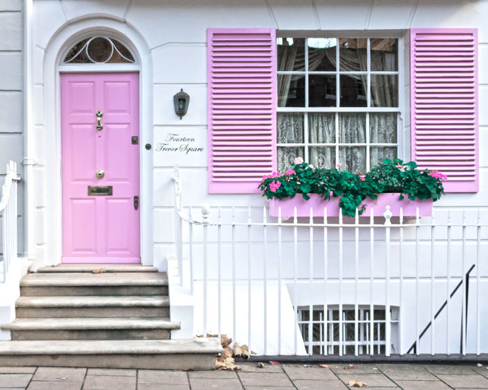 London style Pink Door Pink Patels Doorway Window Box Flower Pink Color Window Shutter Door Residential Building Architecture Building Exterior Built Structure Closed Door Front Door