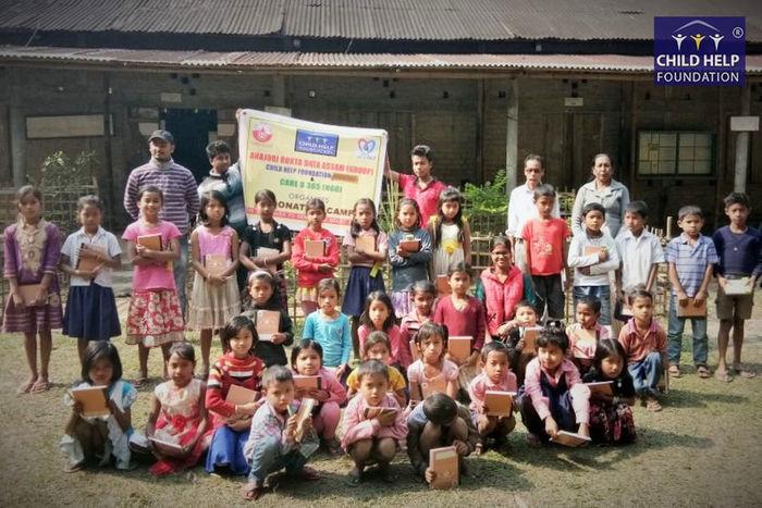 The members of Anajori Raktadata group arranged a donation drive with the help of Child Help Foundation and Care U 365 (NGO) on 10th,11th, and 12th of Feb 2018 for the underprivileged children in Lakhimpur, Dhemaji and Majuli district of Assam. They mainly distributed study materials such as notebook, pen, pencil, etc. to around 300 students of the lower primary schools. The main purpose of the donation drive was to help these children to continue their studies as they belong to families below poverty line. These children need our support. Help Them Get Educated - Children Donate Educate NGO Students Assam Education Non-profit Organization