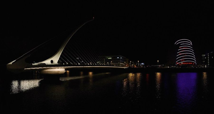 at night Dublin Bridge Night Architecture Panorama Colors