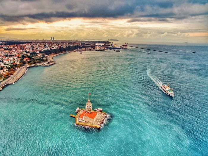 A Bird's Eye View Water Nautical Vessel Transportation Mode Of Transport High Angle View Boat Sea Scenics Journey Tranquil Scene Nature Tranquility Beauty In Nature Sailing Outdoors Waterfront Sky Day Non-urban Scene Seascape Maidenstower Kızkulesi Istanbul Bosphorus Lost In The Landscape