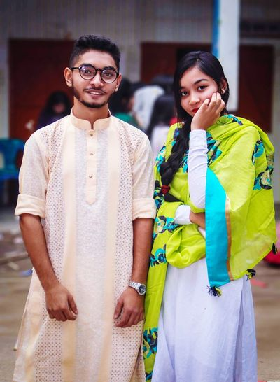 My Life❤ My Best Photo Young Women Portrait Friendship Togetherness Sari Standing Looking At Camera Women Men Young Men Young Couple Falling In Love Couple - Relationship Romantic Activity