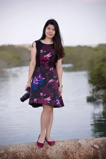 Water Full Length One Person Lake Outdoors Fashion Young Adult Nature Standing Leisure Activity Day Young Women Lifestyles Sky Beauty In Nature Clear Sky Adult People
